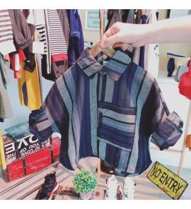 Kids Children Boy Grey Blue Stripes Classic Casual Long Sleeve Tops Shirts