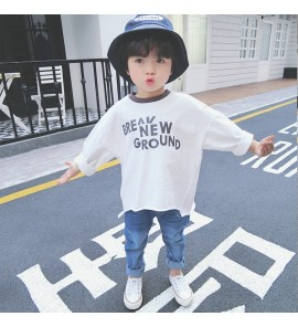 Kids Children Boy White Loose Comfortable Letters Long Sleeve Tops Shirts
