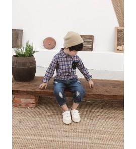Kids Children Boy White Smiley Square Gird Long Sleeve Tops T-Shirts