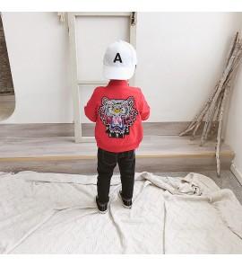 Kids Children Boy Red Tiger Zipper Cool Long Sleeve Jacket Coat