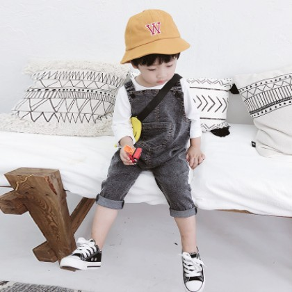 Kids Children Boy Black Denim Jeans Suspenders Overalls Bib Short