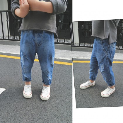 Kids Children Boy Blue Korean Ripped Denim Jeans Long Pants Trousers