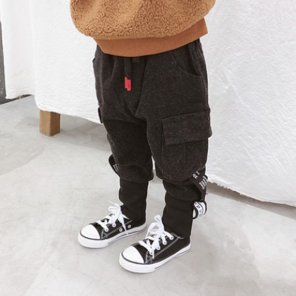 Kids Children Boy Black Woolen Thick Winter Casual Long Pants Trousers