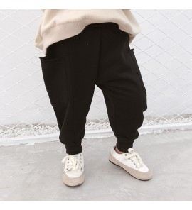 Kids Children Boy Plain Black Dancing Big Pockets Long Pants Trousers