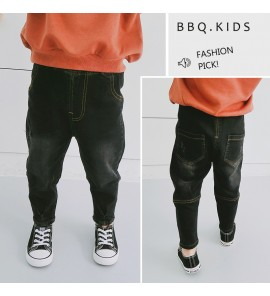 Kids Children Boy Pure Black Denim Jeans Korean Stylish Long Pants Trousers