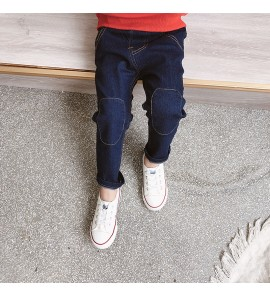 Kids Children Boy Pure Blue Knee Denim Jeans Korean Stylish Long Pants Trousers