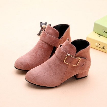 Kids Children Girl Cute PU Leather Buckle Heel Boots Casual Outing Shoes