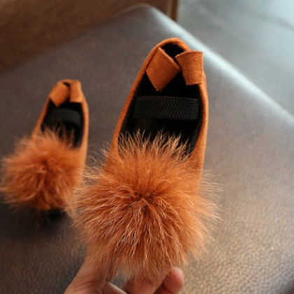 Kids Children Girl Cute Furry Ball Round Head Flats Casual Outing Shoes