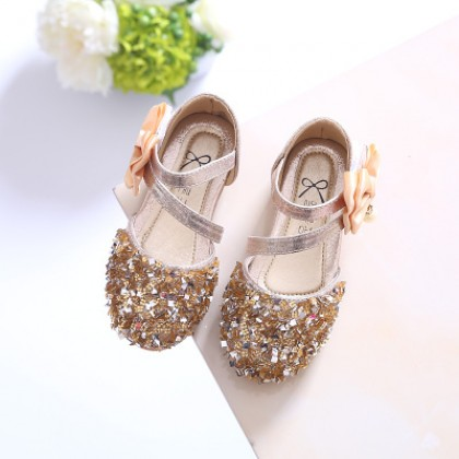 Kids Children Girl Cute Gold Shiny Flora Casual Outing Shoes