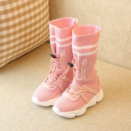 Kids Children Girl Cute High Cut Elastic Knee Boots Casual Outing Shoes