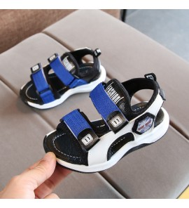 Kids Children Boy Cool Double Velcro Black Sandals Casual Outing Shoes