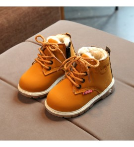 Kids Children Boy Cool PU Leather High Cut Lacing Up Boots Casual Outing Shoes