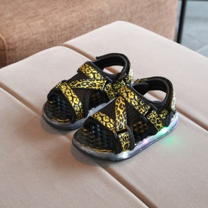 Kids Children Boy Cool LED Leopard Spots Sandals Casual Outing Shoes
