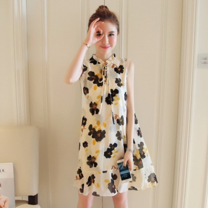 Women Casual Flora Chiffon Sleeveless A Shape Maternity Dress
