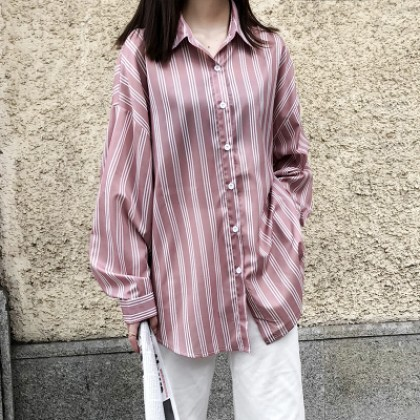 Women Loose Stripes Office Working Long Sleeve Shirt Maternity Tops