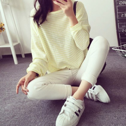 Women Loose Casual Stripes Simple Long Sleeve T-Shirt Maternity Tops