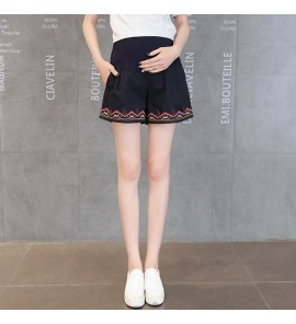 Women Harem Casual Outgoing Elastic Embroidery Maternity Shorts
