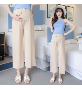 Women Casual Office Formal Long Plain Straight Trousers Maternity Pants