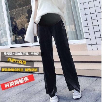 Women Casual Long Plain Straight Trousers Maternity Pants
