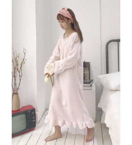 Women Pink Long Sleeve Maxi Dress Keep Warm Maternity Sleepwear
