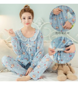 Women Cute Bear Plus Size Breast Feeding Nursing One Set Maternity Sleepwear