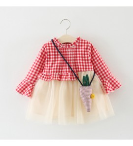 Baby Cute Girl Grid Long Sleeve Mesh Skirt Dress One Set Bodysuit