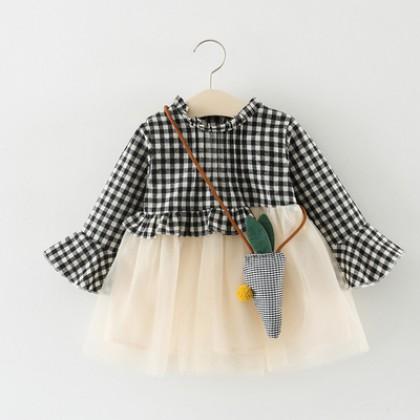 Baby Cute Girl Grid Long Sleeve Mesh Skirt Dress One Set Bodysuit
