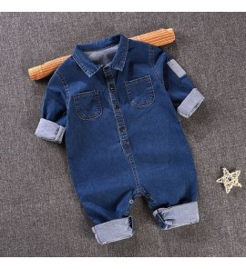 Baby Cute Boy Denim Button Up with Collar Jeans Jumpsuit Bodysuit