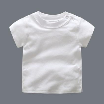 Baby Cute Boy Girl Short Sleeve Basic Plain Color T-Shirt Tops
