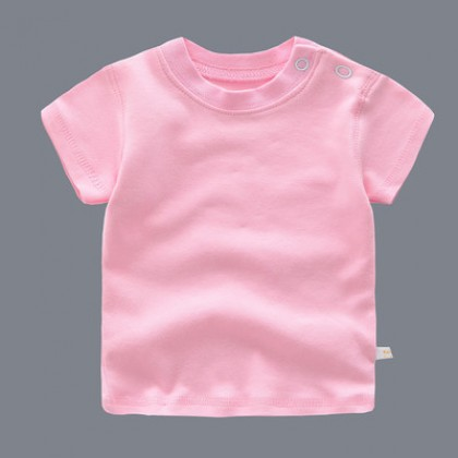 Baby Cute Boy Girl Short Sleeve Basic Plain Color T-Shirt Tops