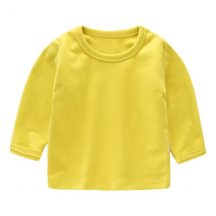 Baby Cute Boy Girl Round Neck Long Sleeve Basic Plain Color T-Shirt Tops