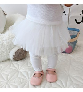 Baby Cute Girl White Elastic Mesh with Leggings Long Pants