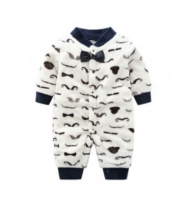 Baby Cute Girl Boy Keep Warm Mustache Thick Winter Pajamas Sleepwear