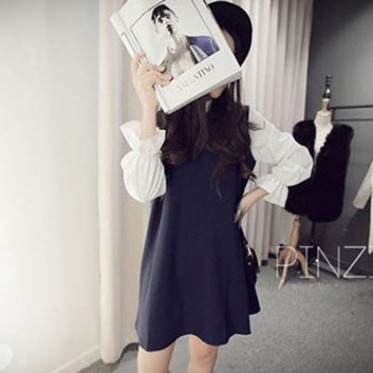 Stand Collar Long Sleeve Office Pregnant Maternity Dress
