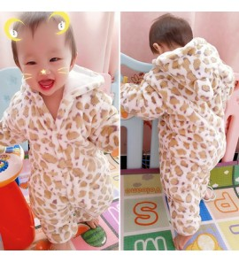 Baby Cute Girl Boy Travel Thick Keep Warm Leopard Spots Hoodie Winter Wear