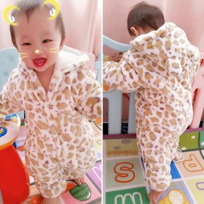 Baby Cute Girl Boy Travel Thick Keep Warm Leopard Spots Hoodie Winter Wear