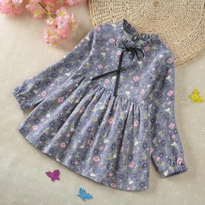 Kids Children Girl Cute Flora Small Flower Long Sleeve Dress