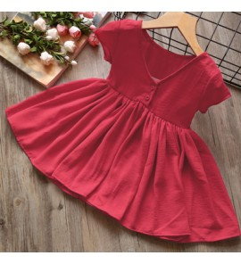Kids Children Girl Cute Elegant Short Sleeve A Shape Plain Color Dress