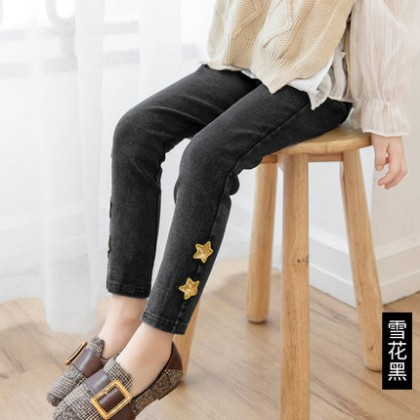 Kids Children Girl Cute Gold Stars Long Pants Jeans Trousers