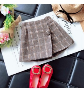 Kids Children Girl Korean Grid Woolen Short Skirts Pants