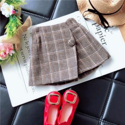 Kids Children Girl Korean Grid Woolen Short Skirts Pants
