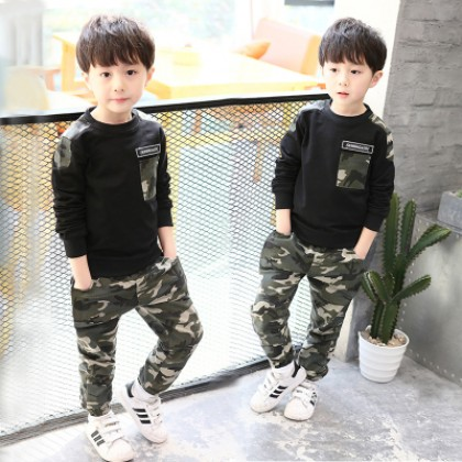Kids Children Boy Camouflage Long Sleeve Tops and Pants One Set