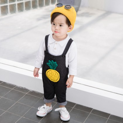 Kids Children Boy Retro Straps Pineapple Overall Suspender Pants