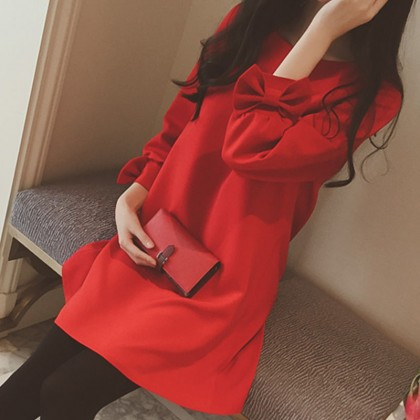 Cropped Sleeves Solid Red Color Keep Warm Maternity Dress