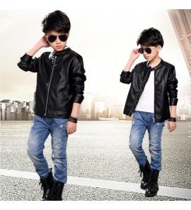 Kids Children Boy Long Sleeve Black PU Leather Zipper Jacket Coat