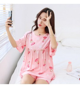 Women Short-Sleeved Cotton Silk Pregnant Pajamas Suit Maternity Sleepwear