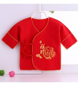 Baby Monk Clothing Strap Newborn Cotton Big Red Half Back Tops