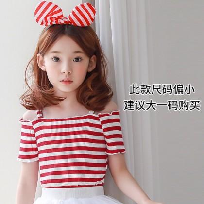 Kids Children Girl Off Shoulder Clothes Short-Sleeved T-shirt Cotton