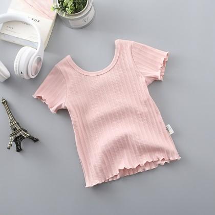 Kids Children  Short-Sleeved T-shirt Cotton Half-Sleeved Round Neck