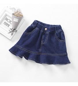 Kids Children Girl Korean Denim Half Body Short Skirt